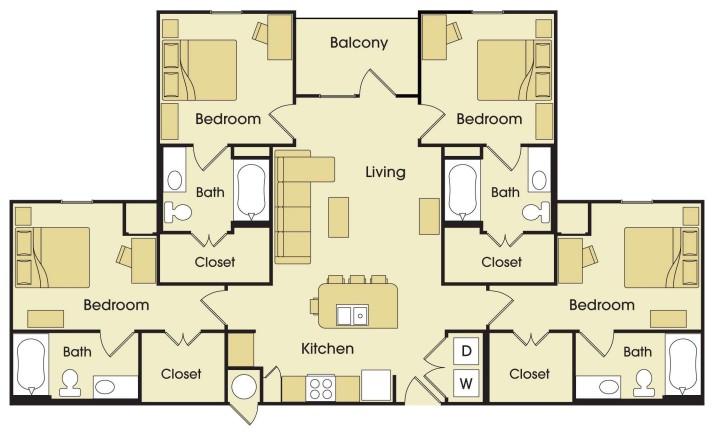 1,456 sq. ft. floor plan