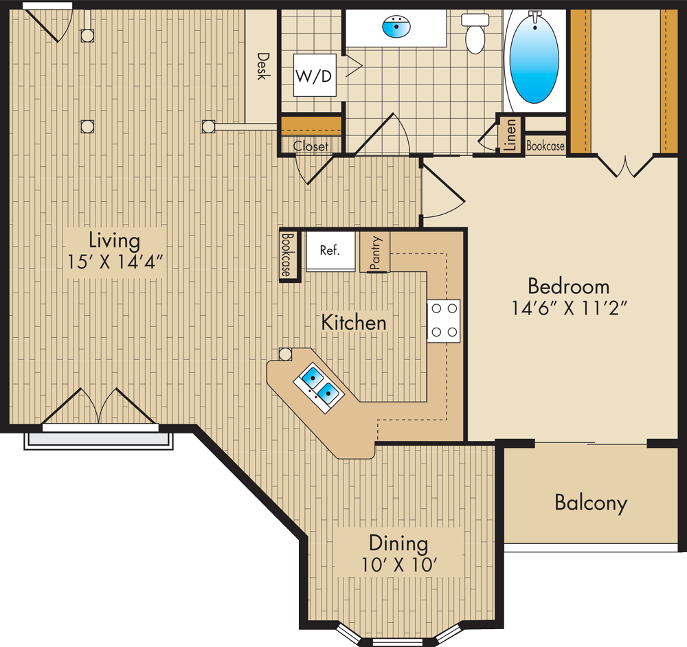 928 sq. ft. D3 floor plan