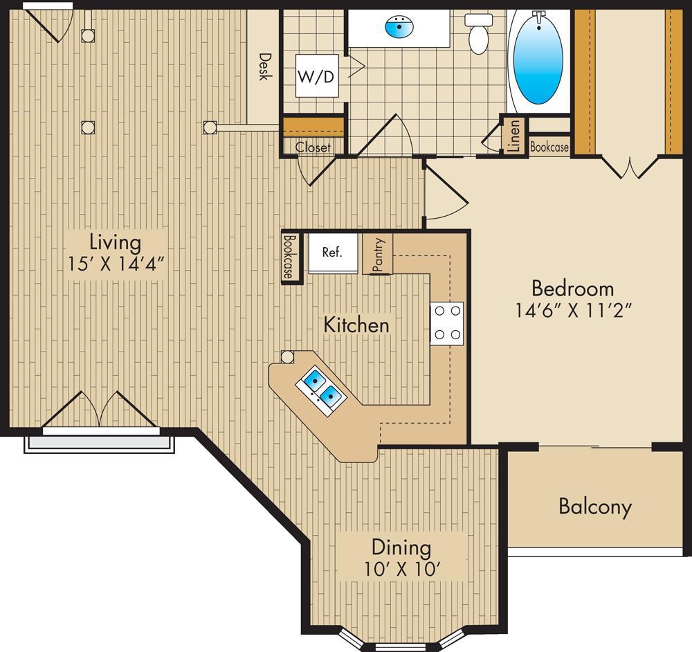 928 sq. ft. D3 floor plan