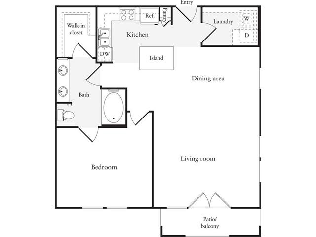 856 sq. ft. A8 floor plan