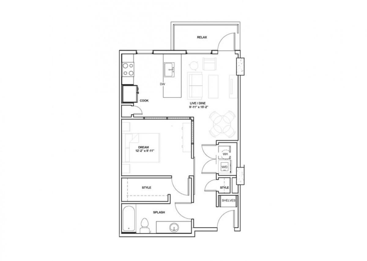 669 sq. ft. Nasher floor plan