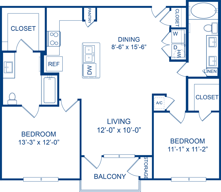 1,097 sq. ft. Mistflower floor plan