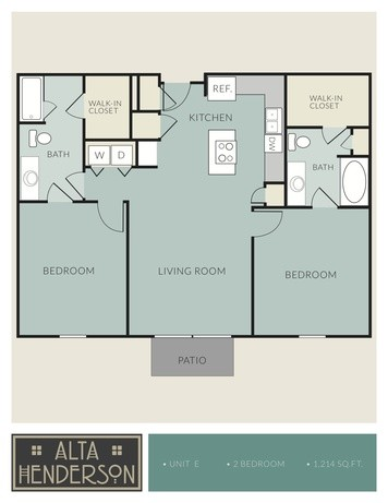 1,214 sq. ft. E floor plan