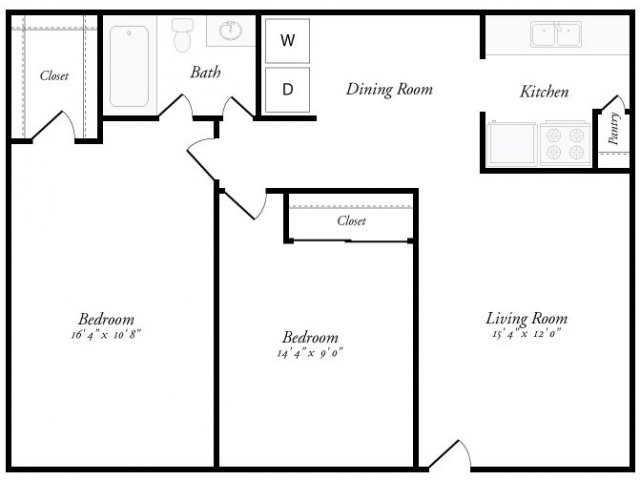 860 sq. ft. Barcelona floor plan