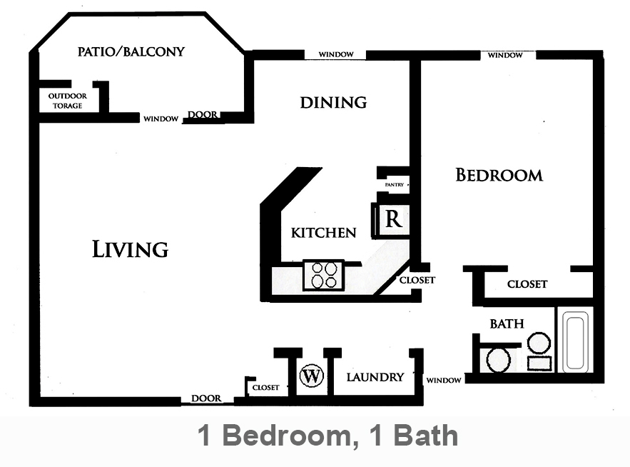 900 sq. ft. Lily floor plan