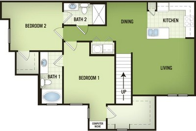1,190 sq. ft. B1-2 floor plan