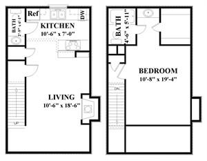 820 sq. ft. A1 floor plan