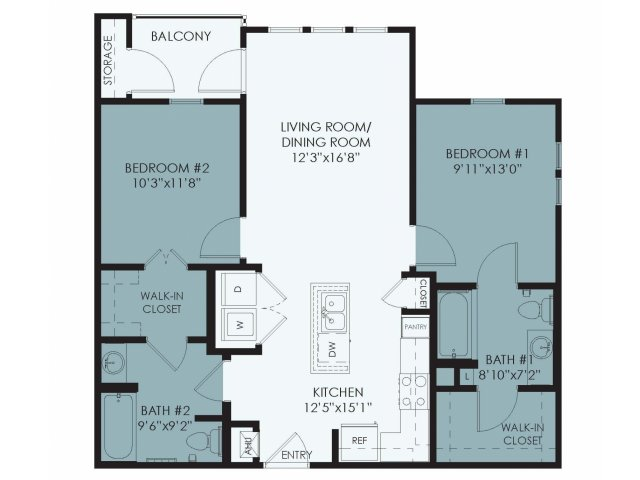 914 sq. ft. Beryl floor plan