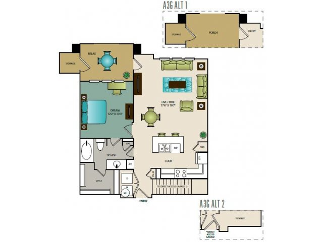 850 sq. ft. A3G floor plan