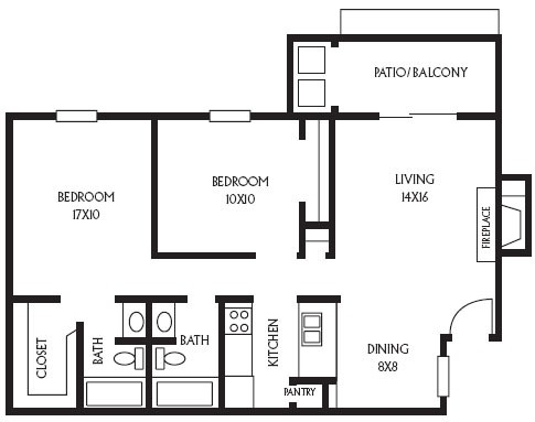 886 sq. ft. B7 floor plan