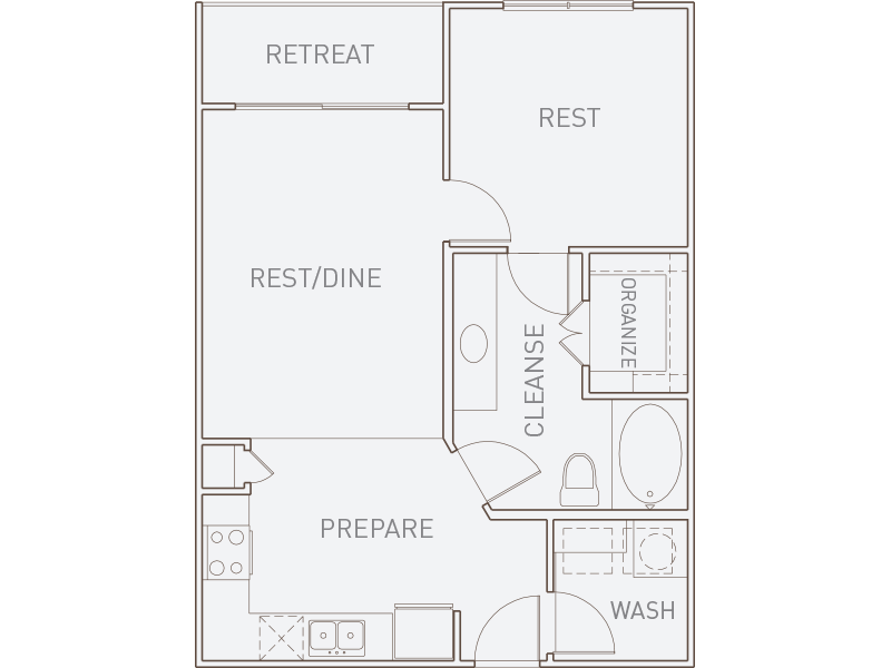 705 sq. ft. A1-T floor plan