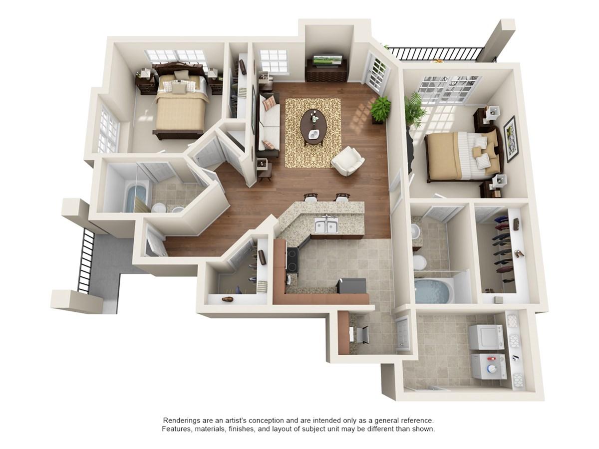1,059 sq. ft. Santa Barbara floor plan
