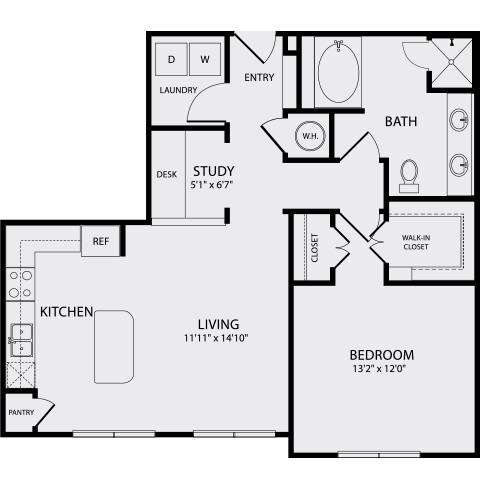 903 sq. ft. A3a floor plan