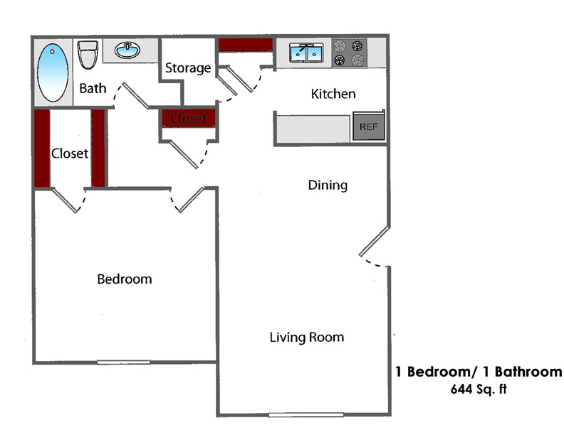 644 sq. ft. 1BR All Bills Paid floor plan