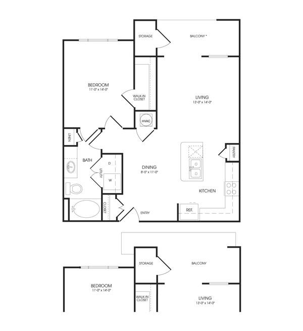 800 sq. ft. Gallery floor plan