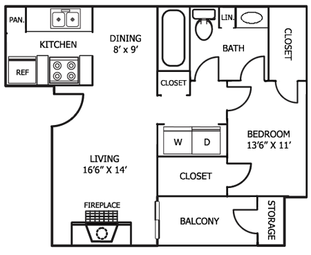 749 sq. ft. A6 floor plan