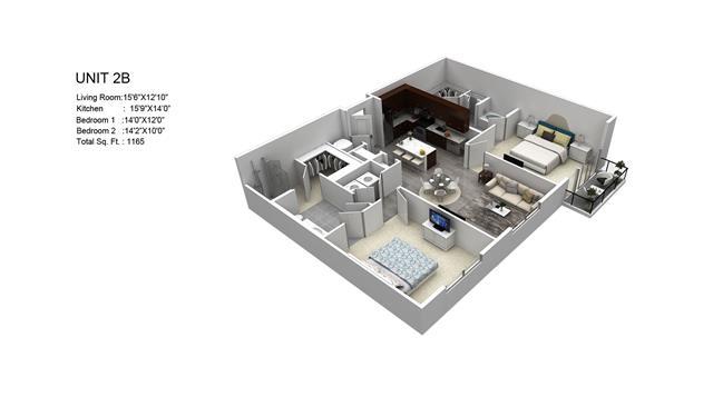 1,165 sq. ft. McIntosh/2B floor plan