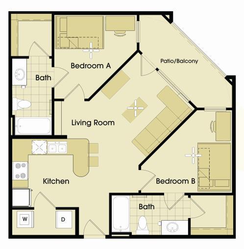 819 sq. ft. floor plan
