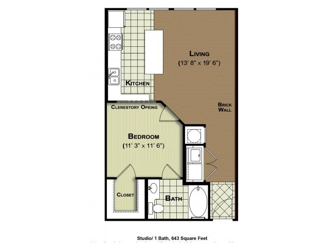 643 sq. ft. Studio E1a floor plan