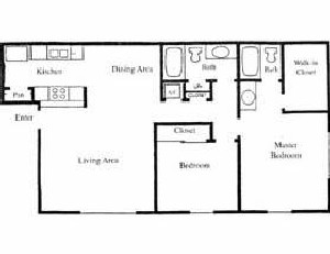 926 sq. ft. Magnolia floor plan
