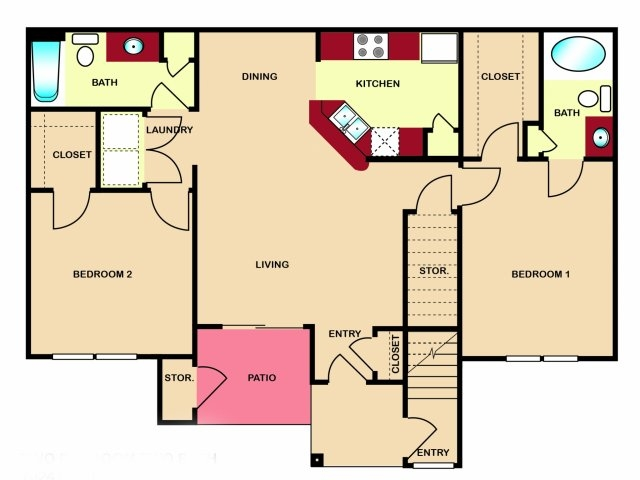 1,024 sq. ft. to 1,035 sq. ft. B3 floor plan