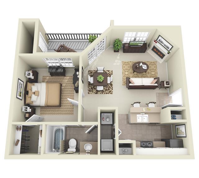 665 sq. ft. A1 floor plan