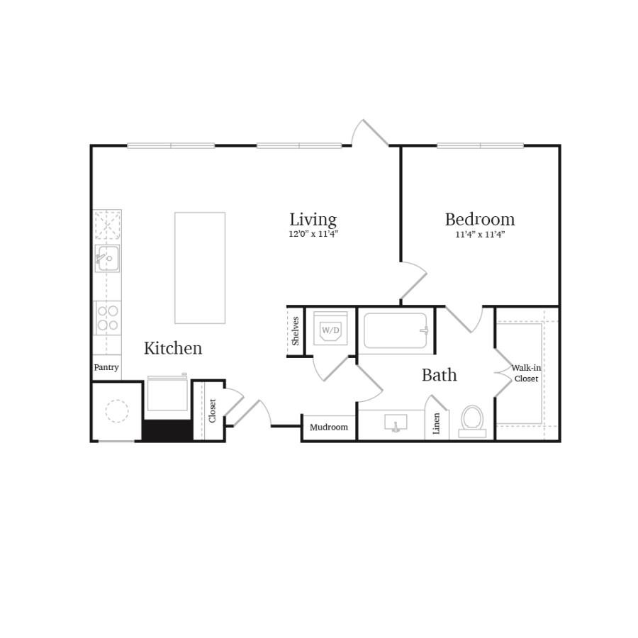 692 sq. ft. A5 floor plan