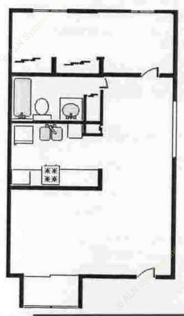 660 sq. ft. LG FLAT floor plan
