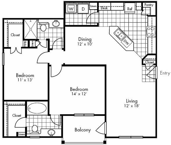 1,170 sq. ft. Travis floor plan