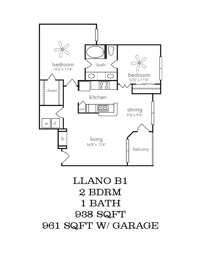 973 sq. ft. Llano w/Garage floor plan