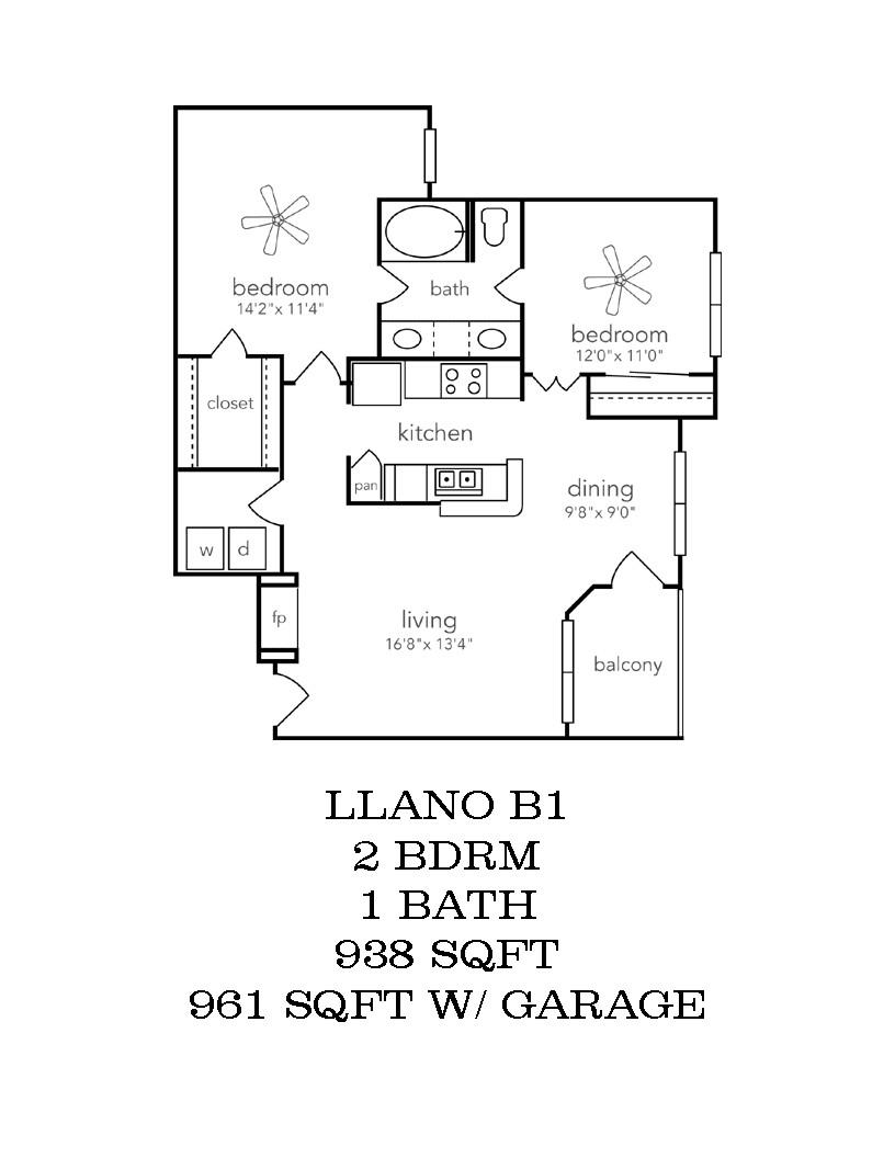 973 sq. ft. B1-GAR floor plan