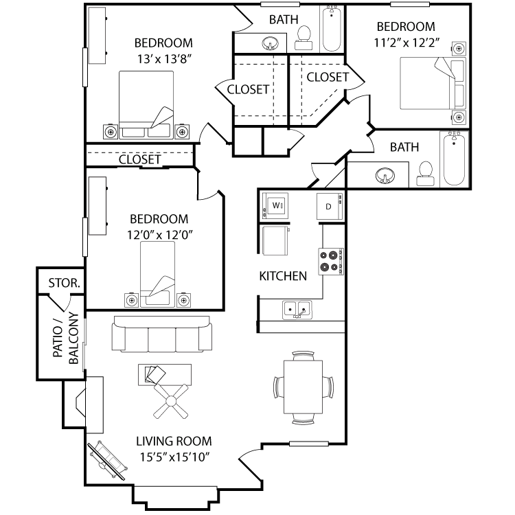 1,330 sq. ft. Cypress floor plan