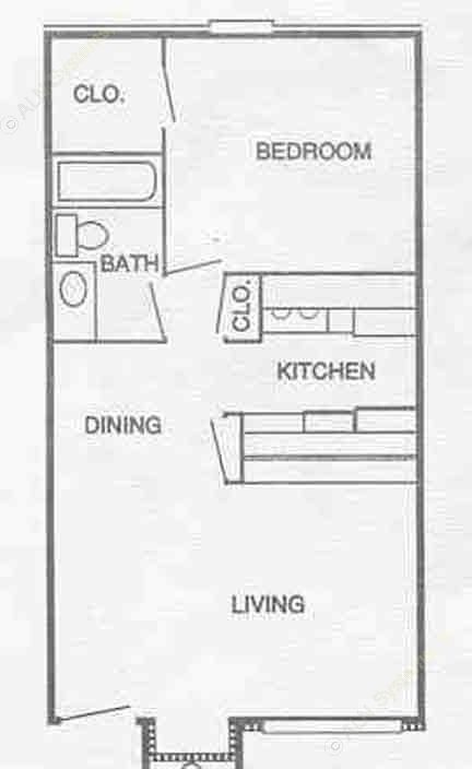 560 sq. ft. A2 floor plan