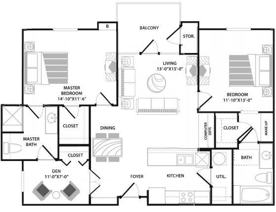 1,140 sq. ft. floor plan