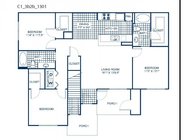 1,308 sq. ft. C1 floor plan
