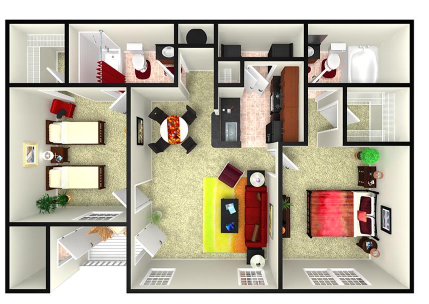 990 sq. ft. B3L floor plan