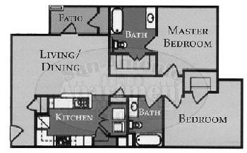 849 sq. ft. Madison/60% floor plan