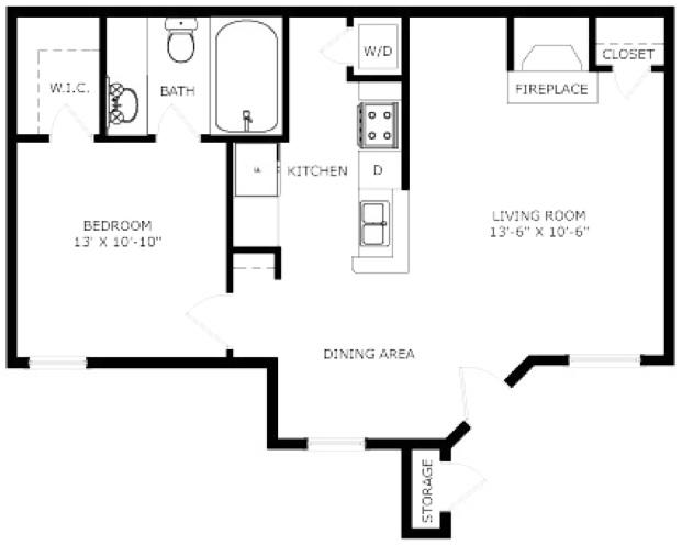575 sq. ft. Ascot floor plan