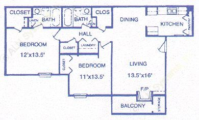 976 sq. ft. Hearthstone floor plan