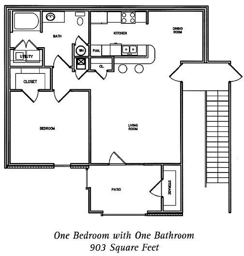903 sq. ft. Amherst floor plan