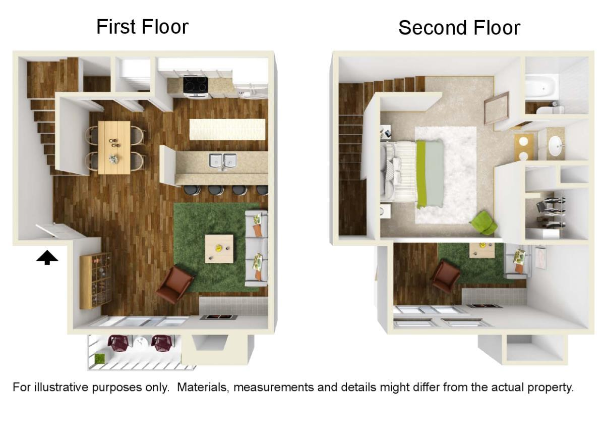 688 sq. ft. A-3 floor plan