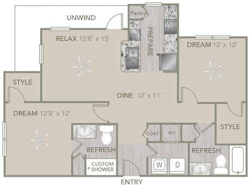 1,218 sq. ft. B2 floor plan
