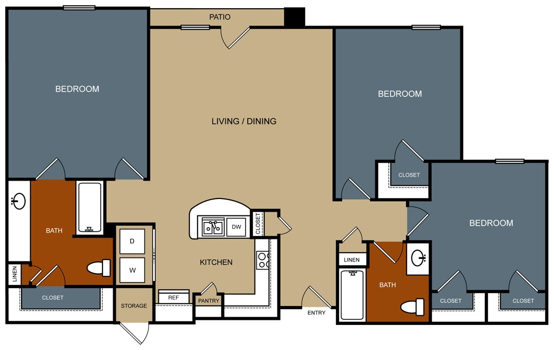 1,340 sq. ft. C2/30% floor plan