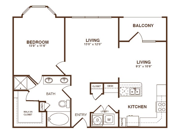856 sq. ft. A4A floor plan
