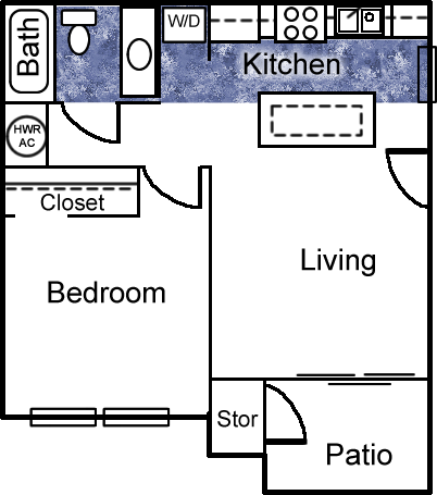 517 sq. ft. floor plan