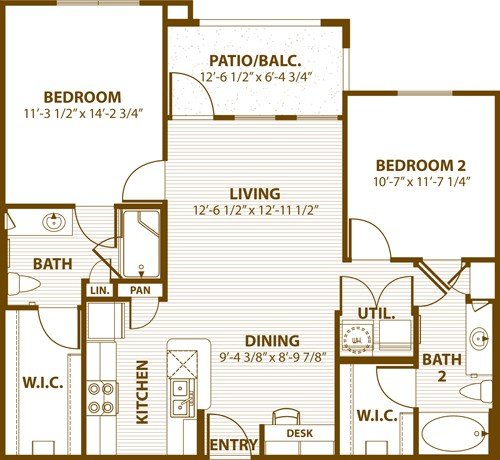 990 sq. ft. 2A 50% floor plan