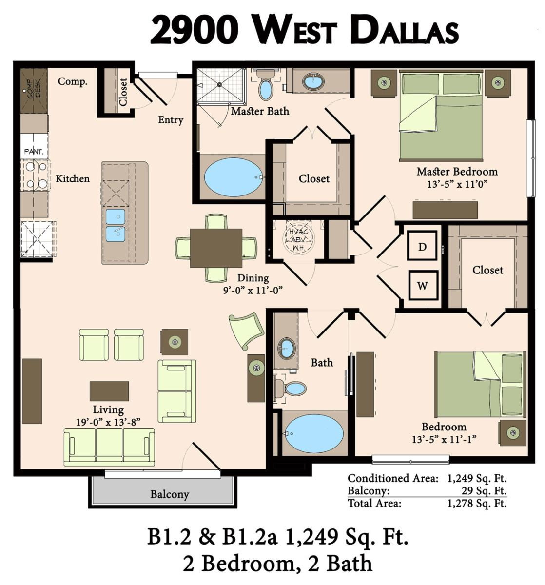 1,249 sq. ft. B1.2,B1.2A floor plan