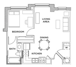 544 sq. ft. 1x1 B floor plan