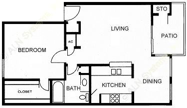 705 sq. ft. B floor plan
