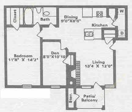 760 sq. ft. B1 floor plan